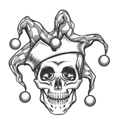 The skull in joker cap vector