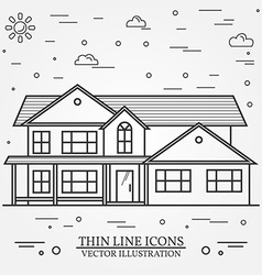 Thin line icon suburban american house for web vector