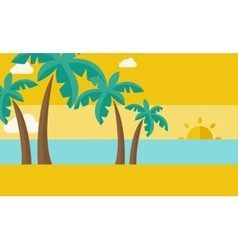 Tropical beach with cloud and sunset vector image vector image