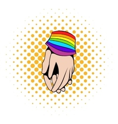 Two hands tied rainbow ribbon icon comics style vector