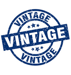 Vintage blue round grunge stamp vector