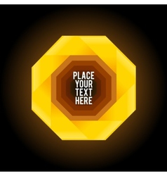 Yellow octagon shape on dark background vector