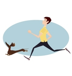 Young man running with your dog Fittnes vector image vector image