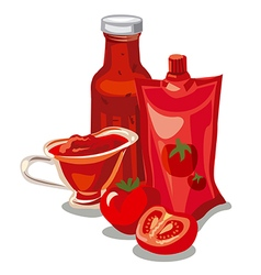 Tomato ketchup and sauce vector