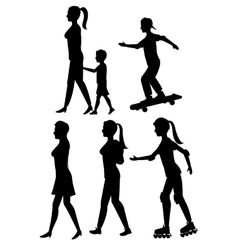 Collection silhouette person walk and skate roller vector