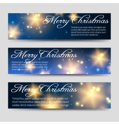 Christmas banners set with shining elements vector