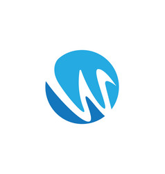 W letter wave logo template vector