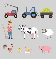 Set of farm animals and equipment vector