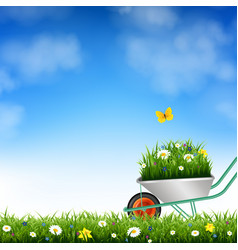 garden wheelbarrow and grass vector image