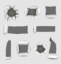 Paper sheet with grey torn holes vector