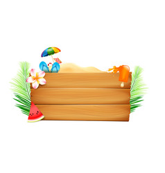 Blank wood board with copyspace and summer beach vector