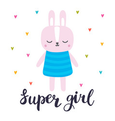 Super girl cute little bunny romantic card vector