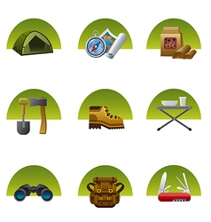 tourism equipment icons2 vector image