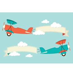 Biplane in the clouds vector