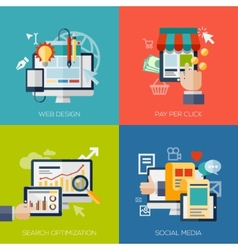 Icons for web design seo social media and pay vector