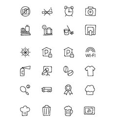 Hotel and restaurant doodle icons 9 vector