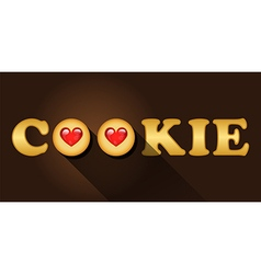 Cookie word with top view of strawberry jam cookie vector