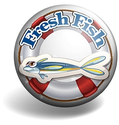 Fresh fish on round badge vector