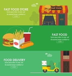 Food delivery horizontal banner set vector