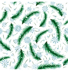 Winter snowflake and fir brunch seamless vector