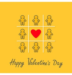 Happy valentines day love card man woman contour vector