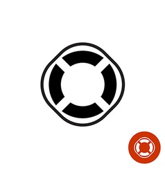 Lifebuoy round black simple silhouette icon symbol vector