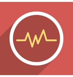 Pulse monitoring flat longshadow square icon vector