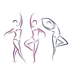 Sketched dancing girls isolated on white vector
