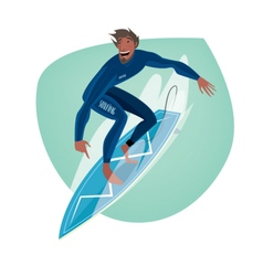 Man on a surfboard vector