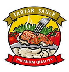 Sauce tartar label design vector