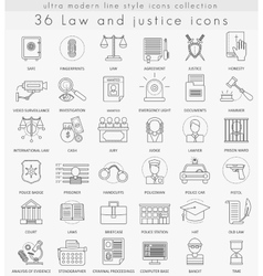 Law and justice ultra modern outline line vector