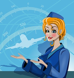 Stewardess in uniform vector image