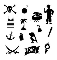 Black pirates icons set on gray background vector