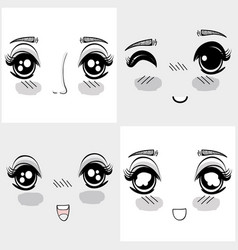 Anime nice woman faces expressions vector