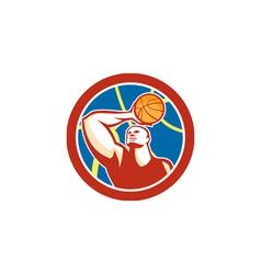 Basketball player shooting ball circle retro vector