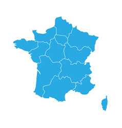 blue map of france divided into 13 administrative vector image
