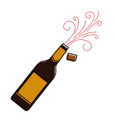 Champagne bottle cork explosion drink celebration vector