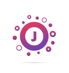 dots and letter j logo in circle abstract logo vector image vector image
