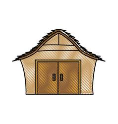 Drawing manger house wooden nativity design vector