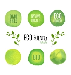 Eco friendly natural product watercolor labels vector image vector image