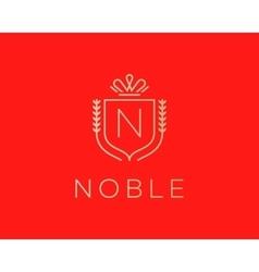 Elegant monogram letter N logotype Premium crest vector image vector image