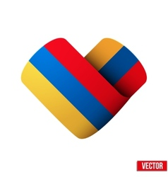 Flag icon in the form of heart i love armenia vector