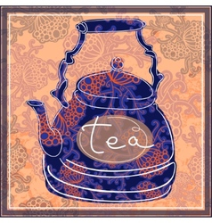 Floral designed tea pot tea time vector