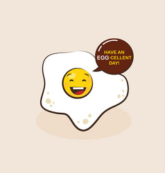 fried egg cartoon character vector image vector image