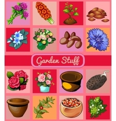 Garden stuff flowers pots and seeds 16 icons vector