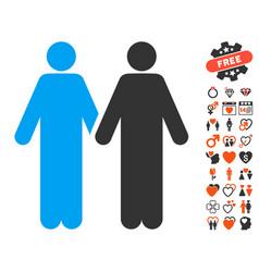 Gay couple icon with valentine bonus vector