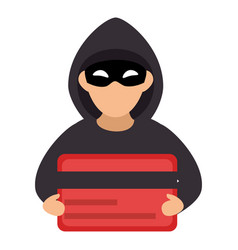 hacker with credit card avatar character vector image vector image
