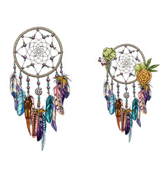 hand drawn ornate dreamcatcher with feathers vector image vector image