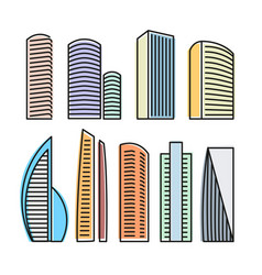 isolated colorful skyscrapers in lineart style vector image