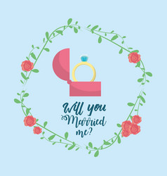 Just married with ring and branch decoration vector